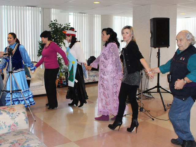 The Tatar party included the national dance.  Dancer at right is