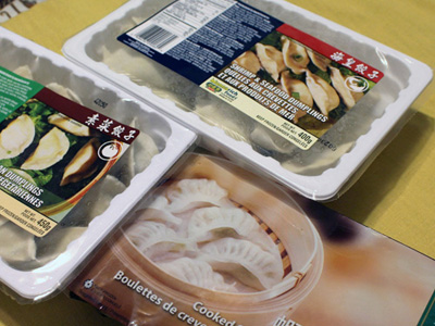 Frozen Dumplings from Loblaws or T and T.