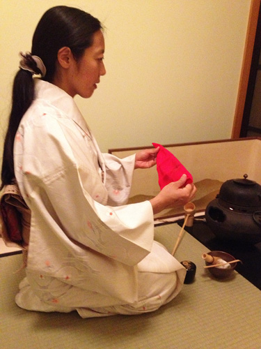 Mrs. Maekawa Performing Tea Ceremony. Copyright ©2013 P. Anne Winter.
