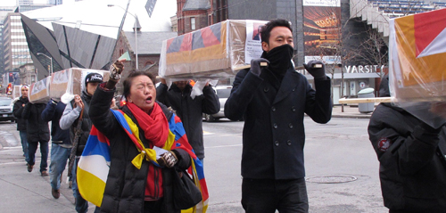 Tibetan-Canadian demonstration in Toronto supporting self-immolations by Tibetan monks in China. Copyright ©2013 Ruth Lor Malloy.