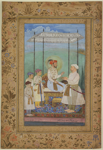 Shah Jahan, His Sons and Asaf Khan. Probably Agra, India. ca 1628.  35.5 X 35.3 cm. AKM124. Courtesy Aga Khan Museum.