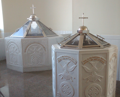 Baptismal fonts.  Copyright ©2015 Ruth Lor Malloy
