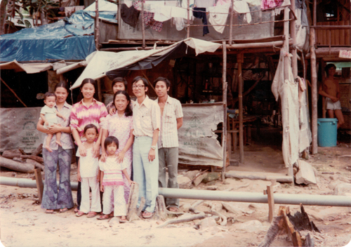 Pulau Bidong Refugee Camp, Malaysia where Dr. Tri Hoang lived in 1980. He is on the far right. Photo: Dr. Tri Hoang.