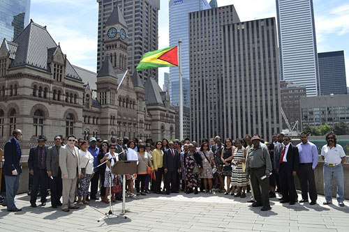 Participants at the Toronto City Hall Guyana Flag Raising.