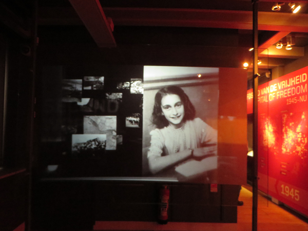 Anne Frank image in Amsterdam Museum.