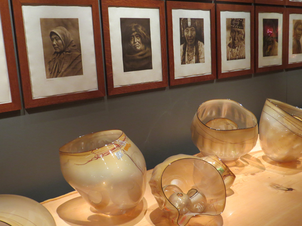 Chihuly baskets and Images of Native Americans. Royal Ontario Museum. Image Copyright ©2016 Ruth Lor Malloy