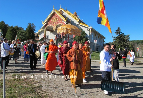 Tuckbath Boon Kathina at Wat Lao Veluwanaram Temple, 17969 Airport Road in Caledon East. Copyright ©2013 Ruth Lor Malloy